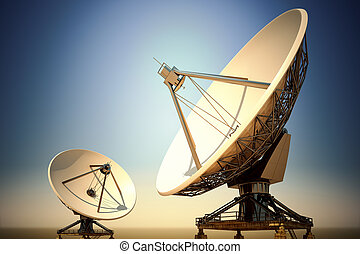 Two big satellite dishes aimed into space. Parabolic antennas in twilight.