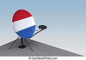 satellite, drapeau, plat, pays-bas