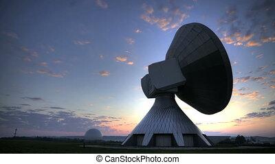 Satellite Earth Station at sunrise