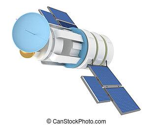 satellite, espace, sur, illustration, fond, blanc, 3d
