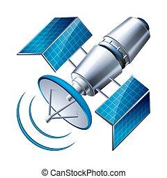 satellite, fond blanc, isolé