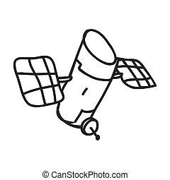 satellite, graphique, science, croquis, vecteur, icon., design.