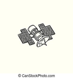 Satellite hand drawn outline doodle icon. Broadcasting and...