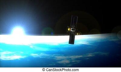 satellite, horizon