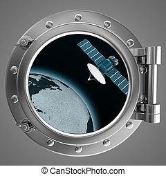 satellite, hublot, vue