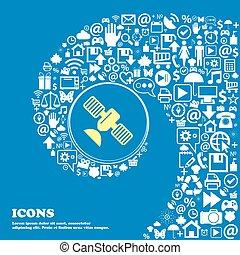satellite, icône, ., gentil, ensemble, de, beau, icônes, tordu, spirale, dans, les, centre, de, une, grand, icon., vecteur