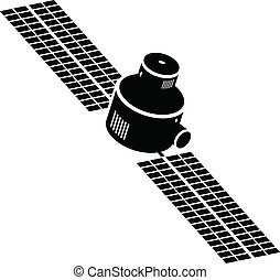A cartoon icon silhouette of a satellite.