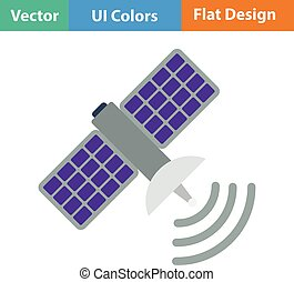 Satellite icon. Flat design. Vector illustration.