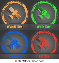 satellite icon. Fashionable modern style. In the orange, green, blue, red design. Vector