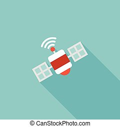 satellite icon, flat design vector with long shadow