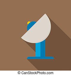 Satellite icon, flat style