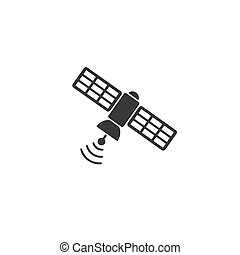 Satellite icon in flat style. Vector sign illustration