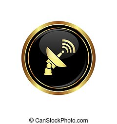 Satellite icon on the black