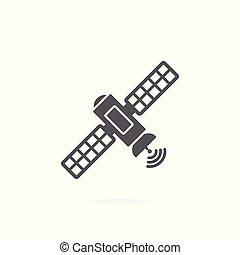 Satellite icon on white background - Satellite vector icon...