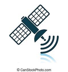 Satellite Icon. Shadow Reflection Design. Vector...