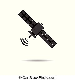 Satellite icon - simple flat design isolated on white background, vector