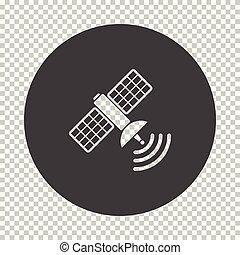 Satellite icon. Subtract stencil design on tranparency grid....