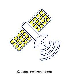 Satellite icon. Thin line design. Vector illustration.
