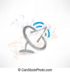 satellite, icona, antenna., spazzola