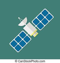 Satellite in flat style. Vector illustration