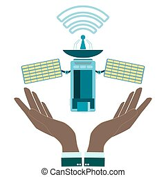 Satellite in hands, modern flat icon, communication satellite with solar cells