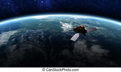 Satellite in Orbit 1 - Satellite floating above the earth's...