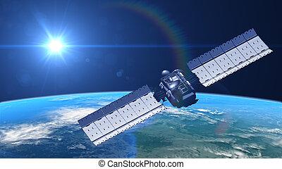 satellite in orbit, 3d illustration