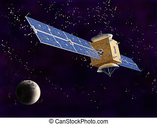 Satellite in Space - Illustration of a satellite in space...