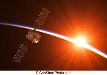 Satellite In The Rays Of Rising Sun