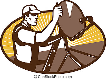 Satellite Installation Technician Worker - Illustration of a...