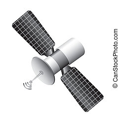 satellite isolated over white background. vector ...