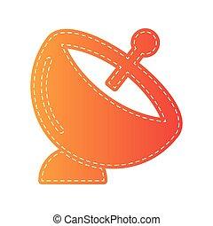 satellite, isolated., segno., piatto, pietanza, applique, arancia