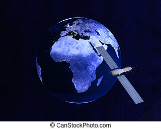 satellite, la terre, sur