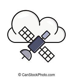 satellite line flat icon