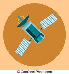 Satellite, modern flat icon, communication satellite with solar cells