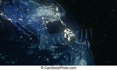 satellite, moderne, earth., autour de, orbite