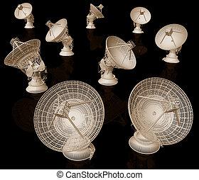 satellite, noir, plats