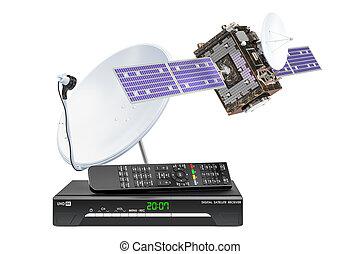 satellite, numérique, 3d, rendre, dish., récepteur