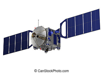 Satellite On A White Backgroud. 3D Model.
