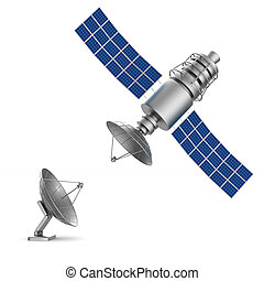 satellite on white background. Isolated 3D illustration