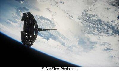 satellite, orbiter, espace, futuriste, la terre