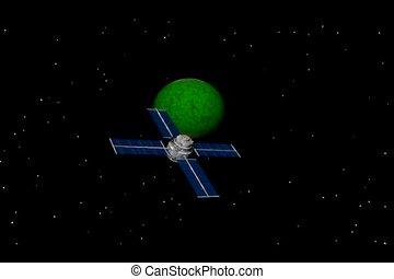 Satellite orbiting planet - Communications satellite...