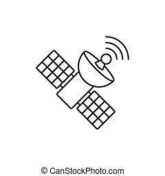 Satellite outline icon on white background