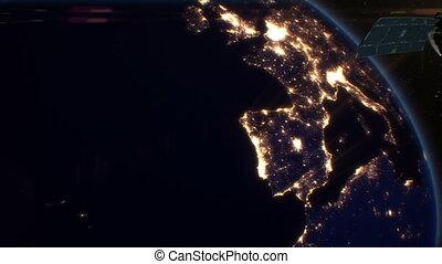 Satellite over Night Cities. Europe