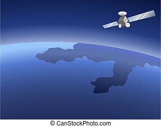 Satellite over planet - Satellite orbiting around the planet...