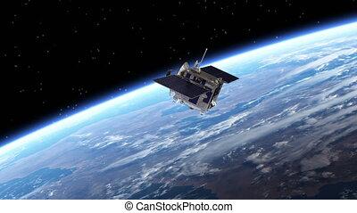 satellite, panneaux, solaire, deploys