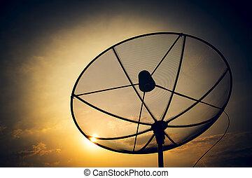 satellite - Satellite dish for family home entertainment.