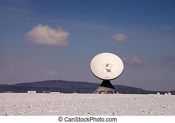 satellite, raisting, station, la terre