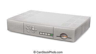 Digital satellite receiver isolated on white