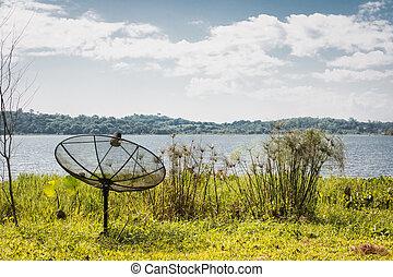 Satellite Receiver Installed on the lake.